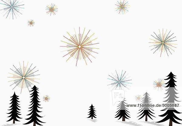 Sterne glitzern am Himmel über Kiefern und Schnee am Boden