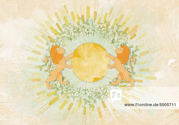 Weizen und Blätter umkreisen zwei Löwen  die eine Kugel halten.