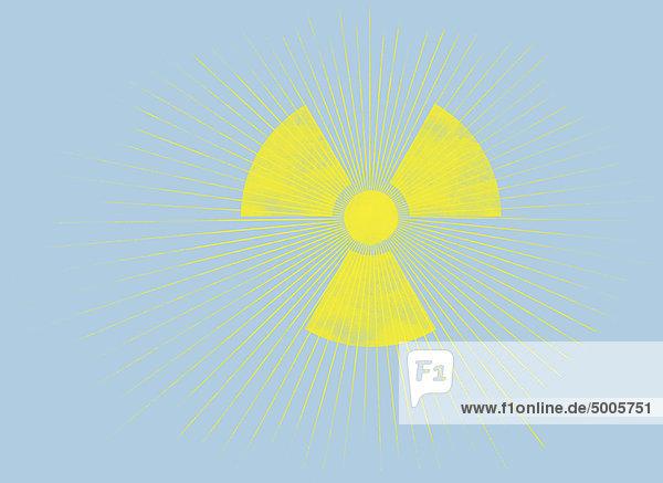 Die Sonne und ein radioaktives Symbol