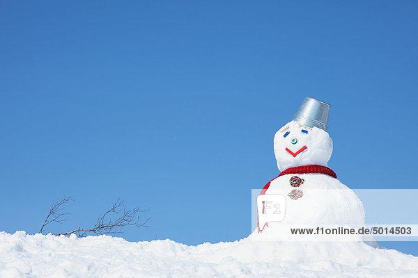 Schneemann mit Hut des Containers gegen blauen Himmel