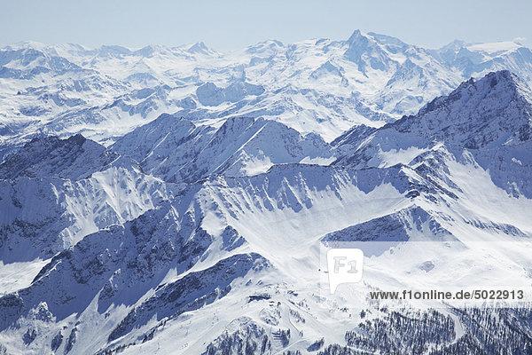 Berg  bedecken  Ansicht  Luftbild  Fernsehantenne  Schnee