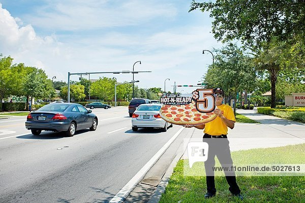 Little Caesar´s Pizza Ad-man  Miami  Florida  USA
