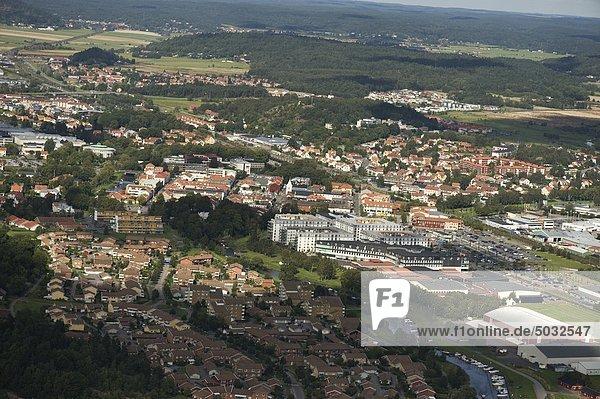 Luftbild der kleinen Stadt