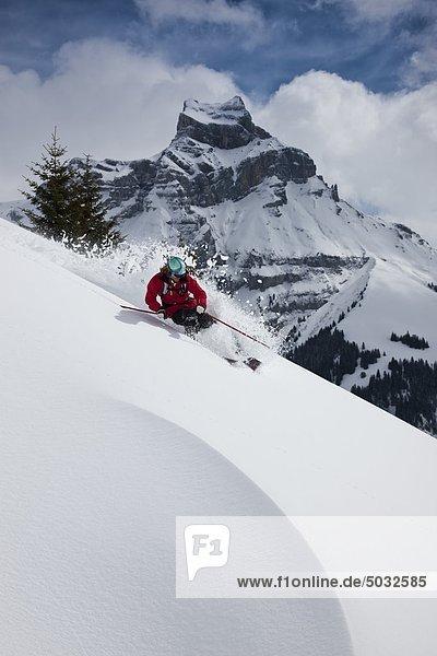 Skifahrer Feld Skisport Schnee