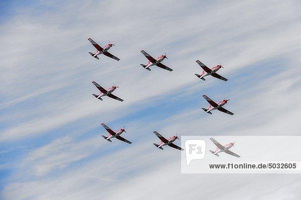 Militärische Flugzeuge fliegen in-formation