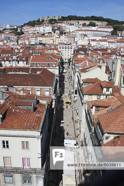 Portugal  Lisbon  View over baixa district with sao jorge castle in background