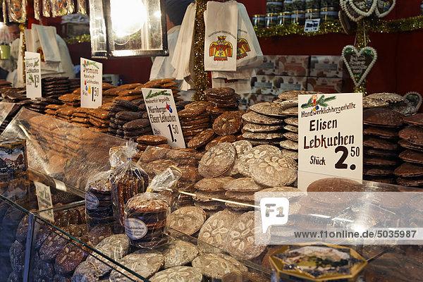 Deutschland  Bayern  Franken  Nürnberg  Lebkuchen am Weihnachtsmarktstand Deutschland, Bayern, Franken, Nürnberg, Lebkuchen am Weihnachtsmarktstand