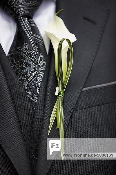 Nahaufname Blume auf Bräutigam Smoking  Calixa Lavallée  Québec  Kanada