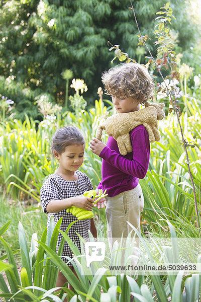 Süßer kleiner Junge steht mit kleinem Mädchen in einem Garten