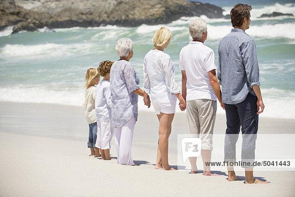 Rückansicht einer am Strand stehenden Mehrgenerationen-Familie