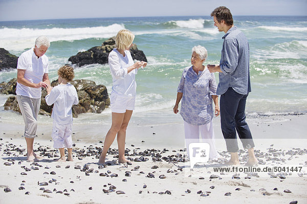 Mehrgenerationen-Familien-Sammelmuschel am Strand