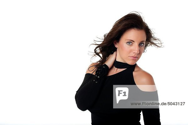 Frau  Pose  Freizeitbekleidung  lächeln  Kleidung  jung