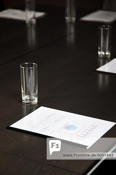 Konferenztisch mit trinken Gläser und Dokumente