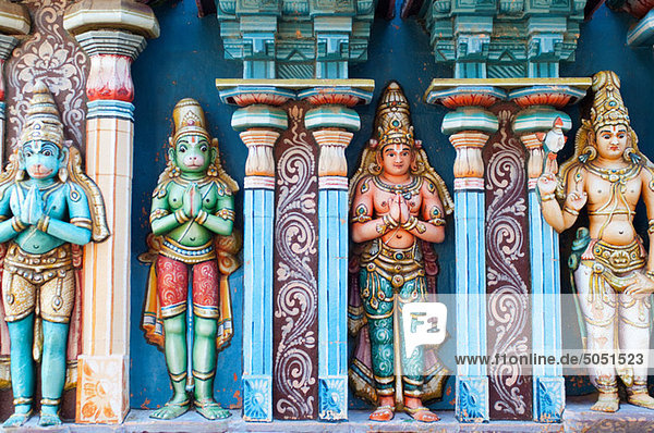 Colourful frieze detail at the Sri Ranganathaswamy temple  Trichy  Tamil Nadu
