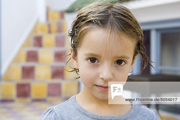 Little girl with wet hair  portrait