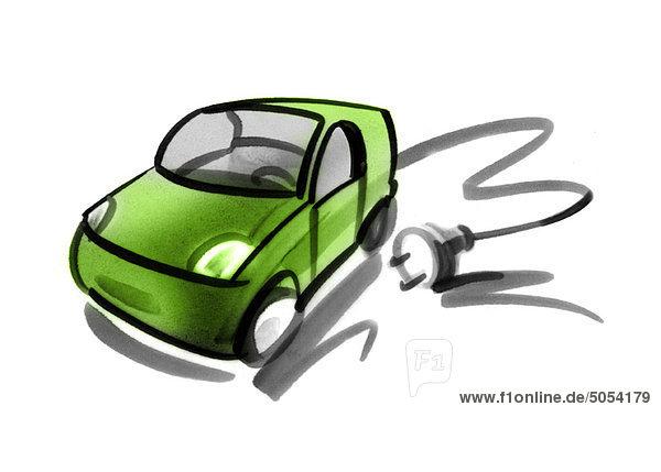 Elektroauto mit Elektrokabel und Stecker Elektroauto mit Elektrokabel und Stecker