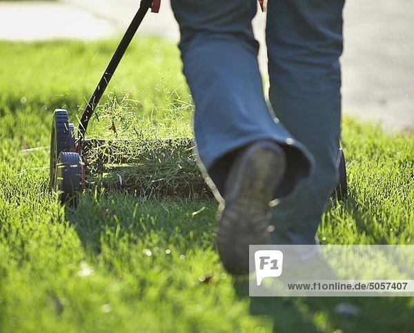 Frau Freundschaft schneiden Rasen Gras Umwelt Kanada Manitoba Winnipeg