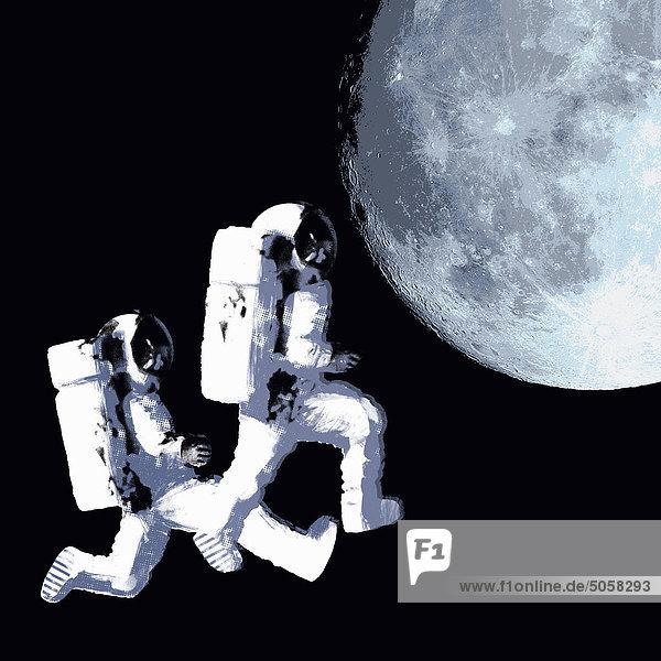 Astronauten im Weltraum gehen Richtung Mond