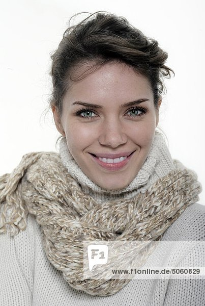 Portrait of woman in winter outfit