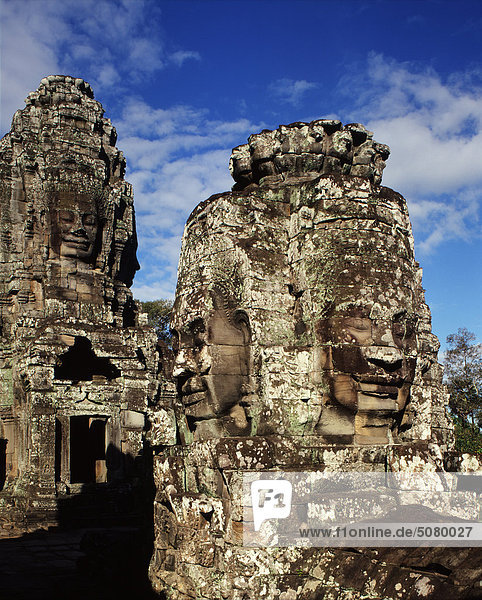 Face-towers on the upper terrace of the Bayon (late 12th cntury)Angkor  Cambodia.
