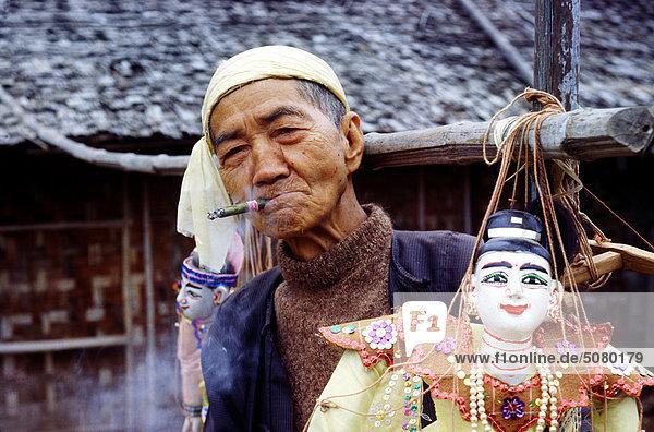 Puppenspieler  Bagan  Myanmar (Burma)