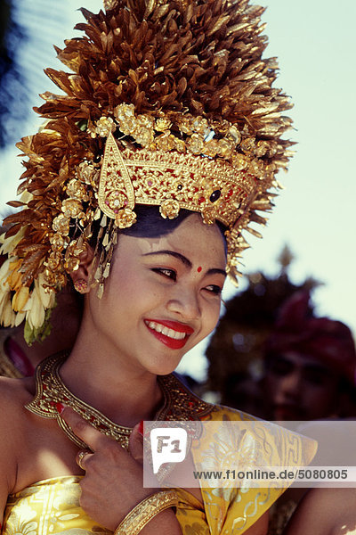 Balinese girl with traditional head dress. Bali  Indonesia