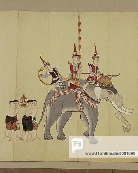 Detail eines Manuskripts zeigt ein Kriegselefant.Thailand. Detail eines Manuskripts zeigt ein Kriegselefant.Thailand.