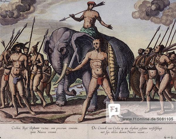 Der König von Cochin auf Elefanten Der König von Cochin auf Elefanten
