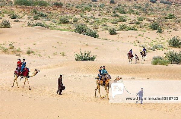 fahren  Tourist  Wüste  groß  großes  großer  große  großen  Düne  Kamel  Indien  Rajasthan