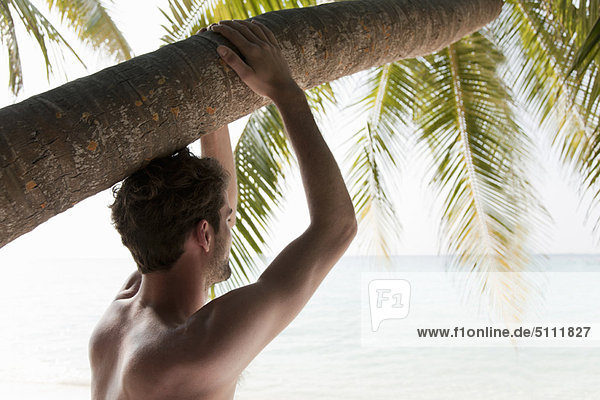 Man relaxing under palm tree at beach