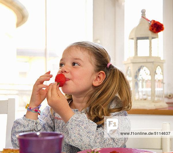 Erdbeere  essen  essend  isst  Mädchen  Tisch