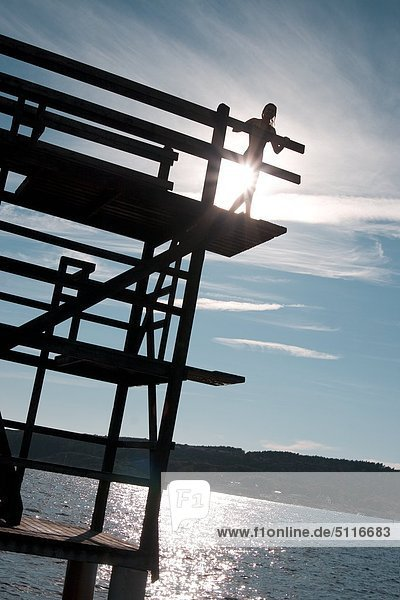 Frau stehend am Rande einer hohen Brücke  Schweden