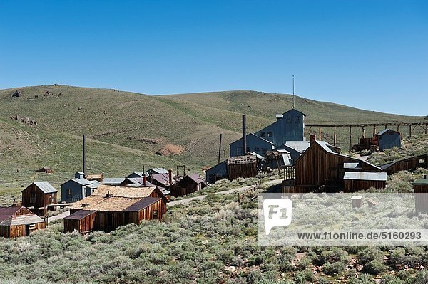 Derelict buildings at Bodie state historic park  California  USA