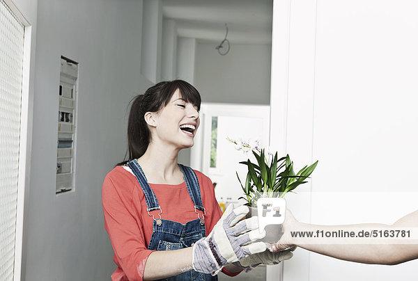 Junge Frau hält Betrieb in renovierender Wohnung