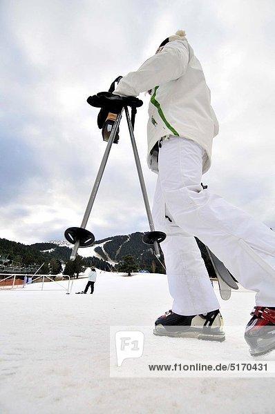 Skier. La Molina ski resort  Cerdanya  Girona province  Catalonia  Spain