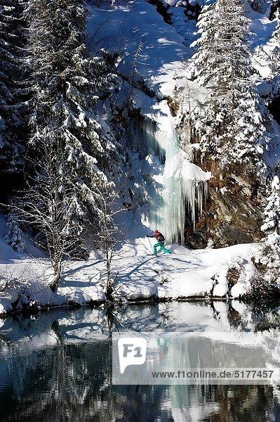 benutzen  Frau  Winter  Schnee  See  joggen  Schneeschuh