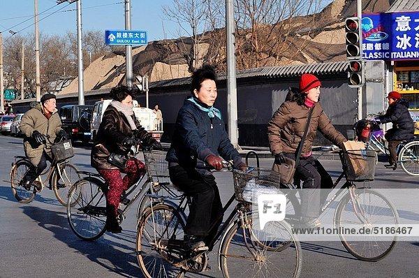 Mensch  Menschen  Peking  Hauptstadt  Fahrrad  Rad
