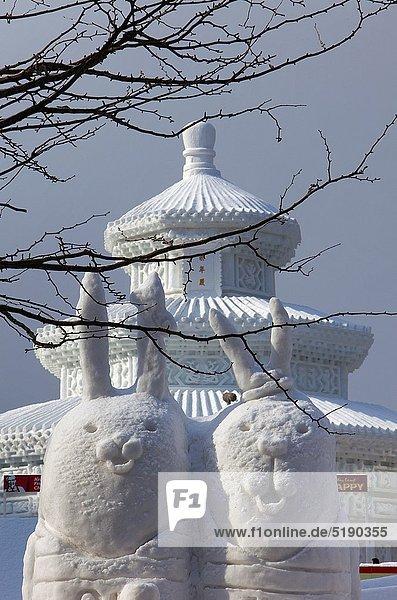 Sapporo snow festival snow sculptures Odori Park  Sapporo  Hokkaido  Japan