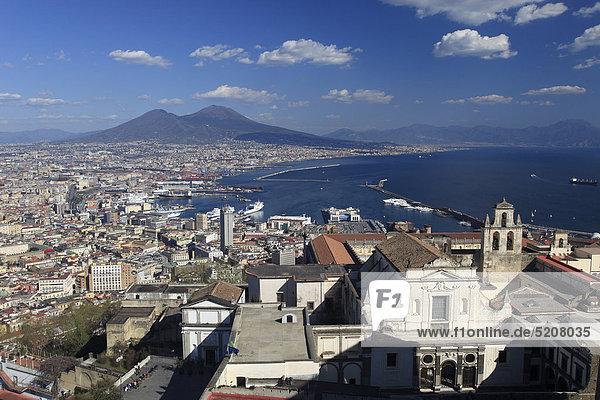 Italy  Campania  Naples  Cityscape and Vesuvius Volcano