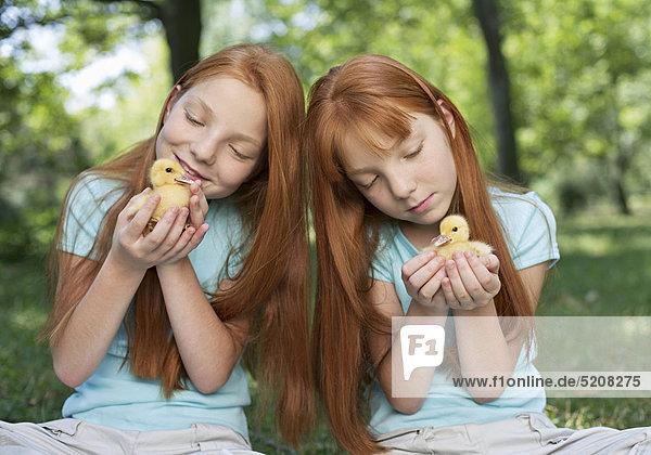 Rothaarige Zwillingsmädchen mit zwei Entenküken