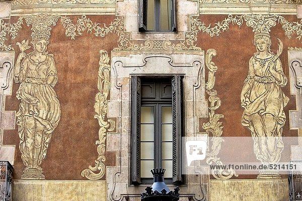 Wand Wohnhaus Gemälde Bild Barcelona Katalonien Palau Spanien
