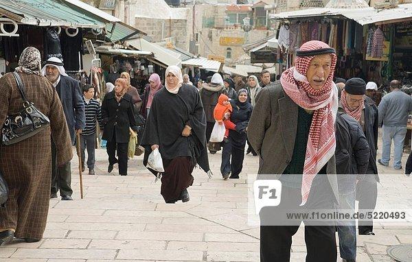 East Jerusalem old city near Damascus gate on a cold winter day  Palestine / Israel