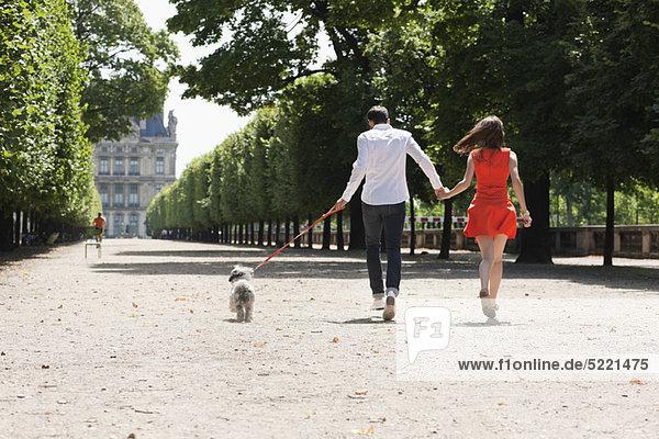 Paar im Garten mit einem Welpen  Terrasse De l'Orangerie  Jardin des Tuileries  Paris  Ile-de-France  Frankreich