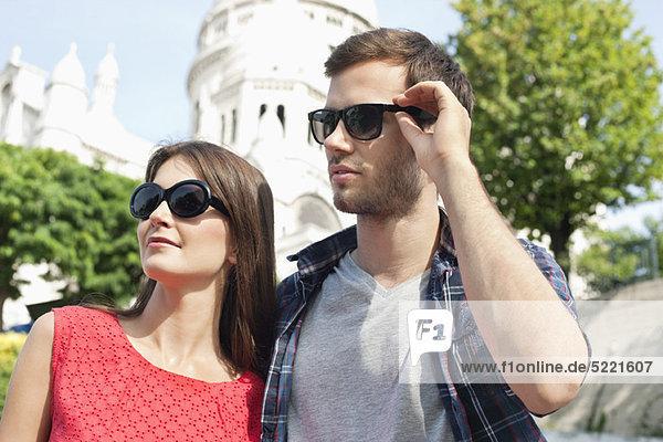 Nahaufnahme eines Paares  Montmartre  Paris  Ile-de-France  Frankreich