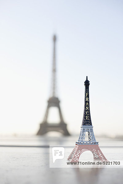 Replica of Eiffel Tower with original one in the background  Paris  Ile-de-France  France