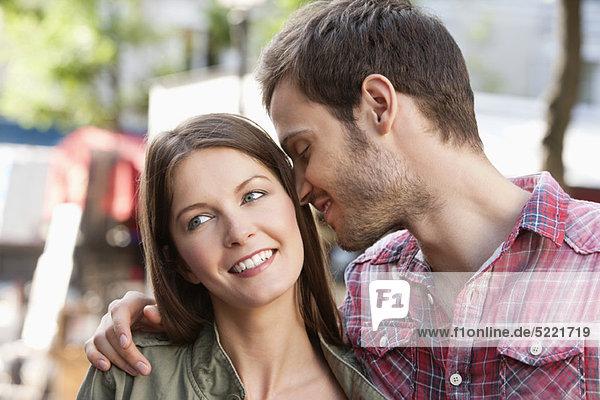 Man kissing his wife  Paris  Ile-de-France  France