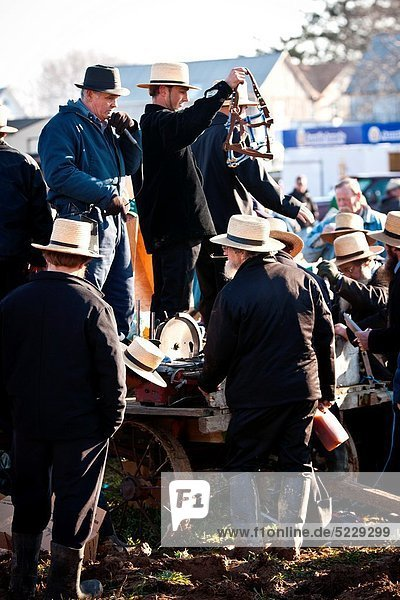 Amish auctioneers during the Annual Mud Sale to support the Fire Department in Gordonville  PA