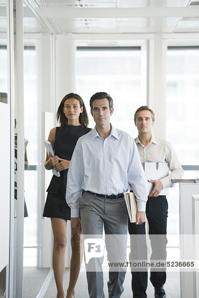 Executives walking in office