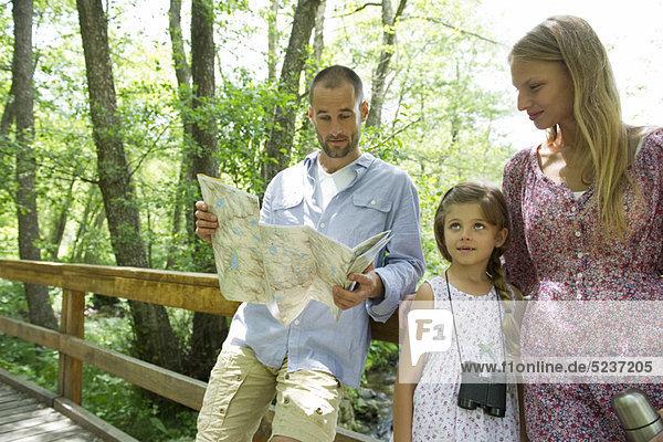 Familie anhalten in Wäldern Karte zu konsultieren