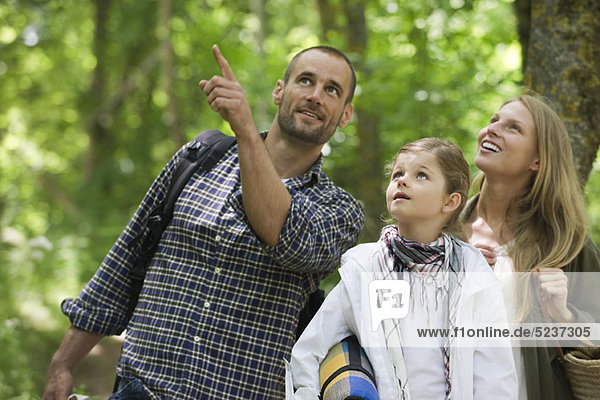 Family together outdoors  looking up in awe